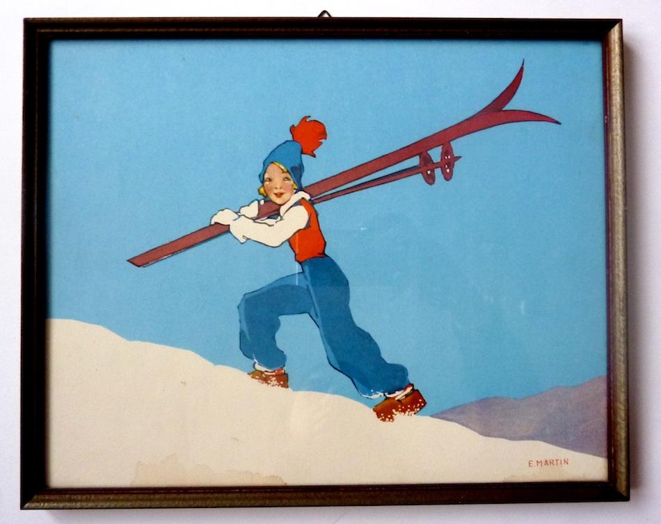 Vrolijke Ski-Dirne aus der Schweiz