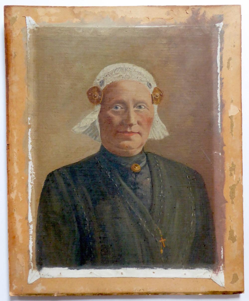 Schilderij Friese boerin in klederdracht