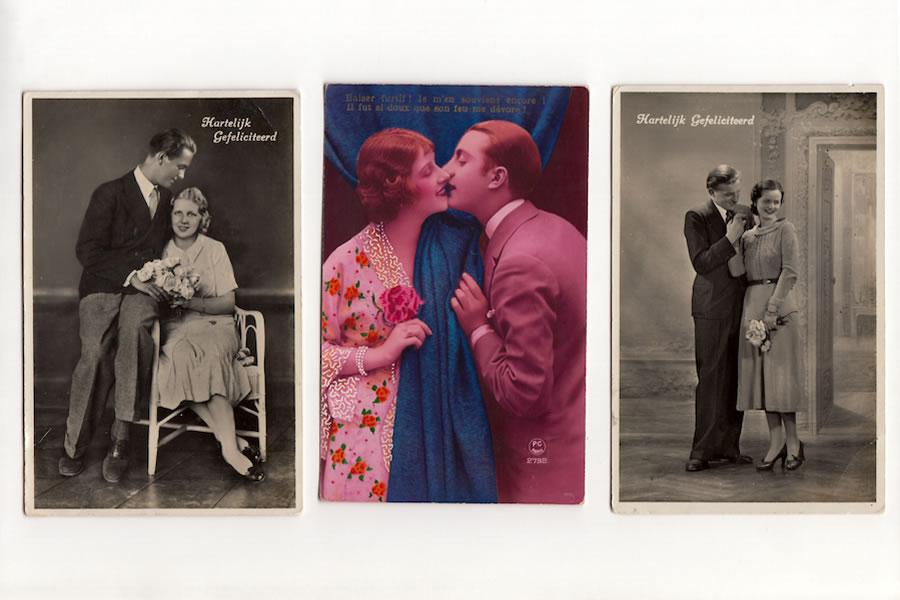 Ouderwetse romantische ansichtkaarten